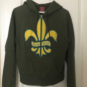 Green and yellow lucky brand hoodie